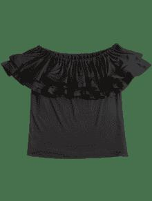S Con Vuelo Blusa Negro De Hombros Volados Descubiertos Y x7qanES8wa