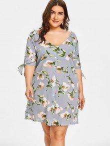 فستان مستقيم ربطة الأكمام طباعة الأزهار الحجم الكبير - ازرق رمادي 3xl
