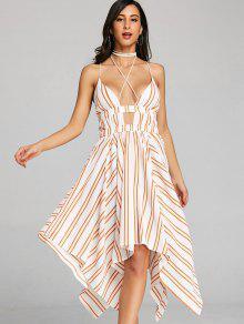 فستان منديل مخطط شريط - البرتقالي M
