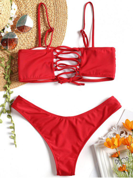 shops Cami Padded Back Lace Up Bikini - RED S