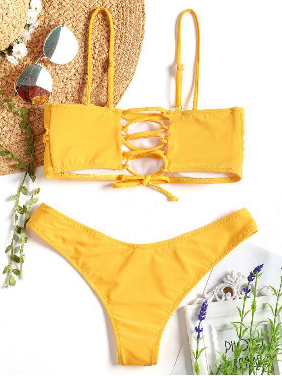 Cami Gepolsterter Rücken Schnürung Bikini - Senf S