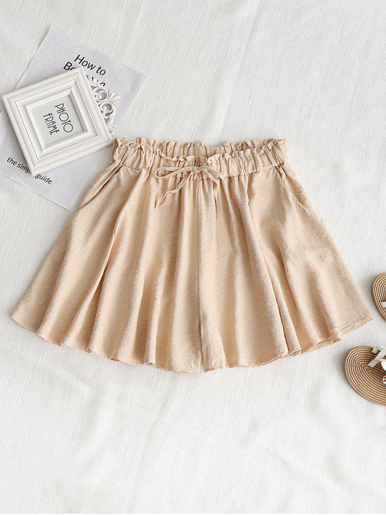 hot High Waist Ruffle Wide Leg Shorts - APRICOT XL