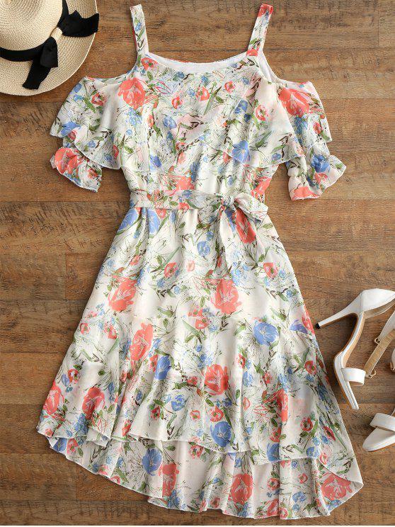 فستان عالية انخفاض مربوط كشكش طباعة الأزهار - الأزهار L