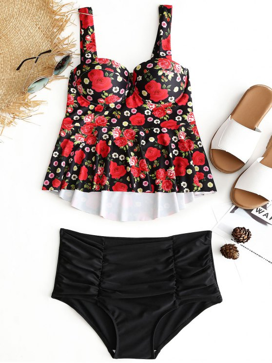 women Floral Underwire High Waisted Tankini Set - BLACK M
