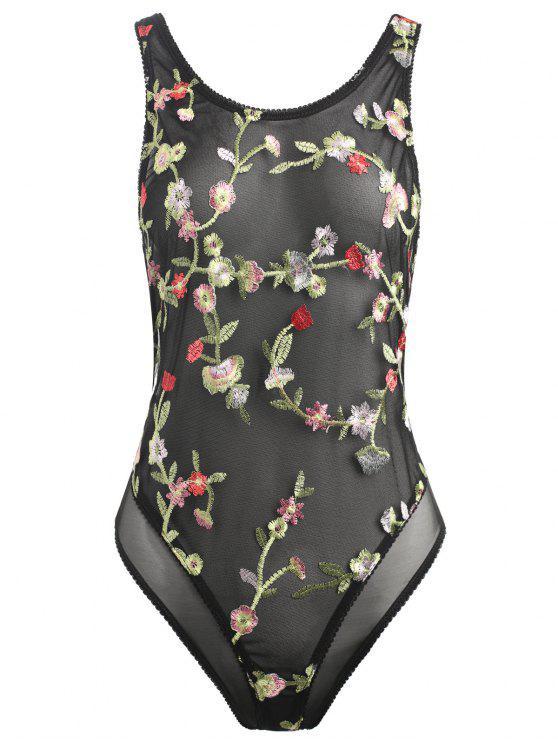 Body bordado floral de la ropa interior - Negro S