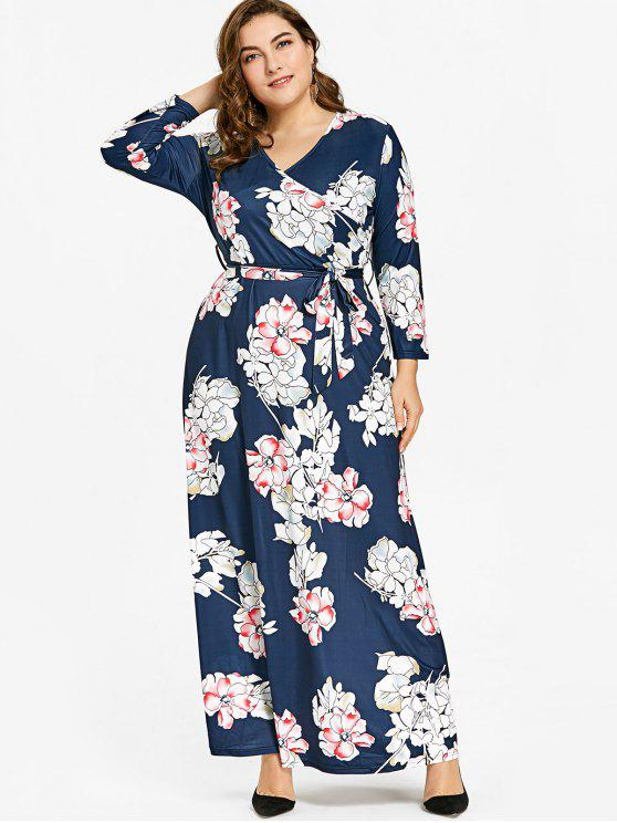 Plus Size Floral Print Belted Maxi Dress FLORAL