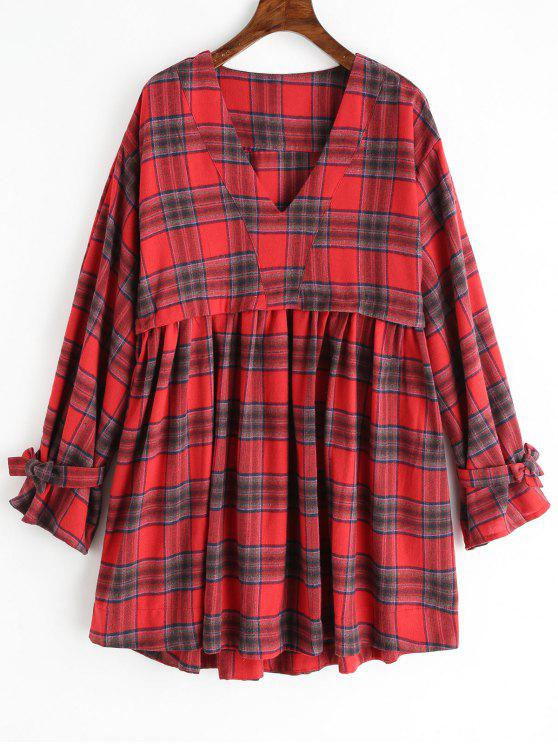 shops V Neck Oversized Plaid Dress - RED L