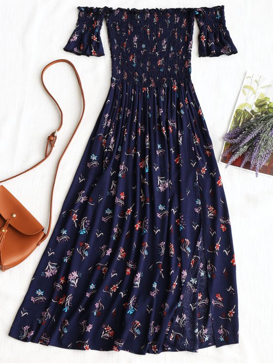 chic Floral Slit Smocked Off Shoulder Midi Dress - PURPLISH BLUE M