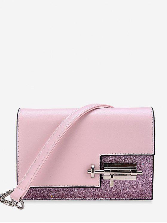 shop Glitter Irregular Crossbody Bag with Lock - PINK