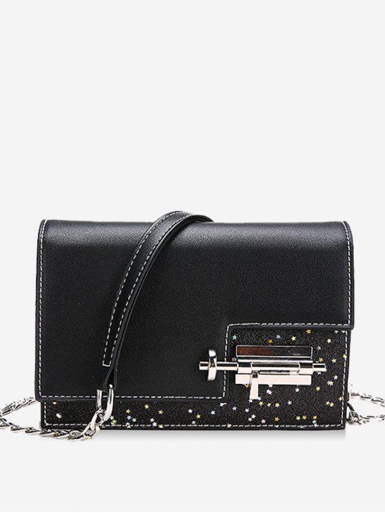 Glitter Irregular Crossbody Bag com bloqueio - Preto
