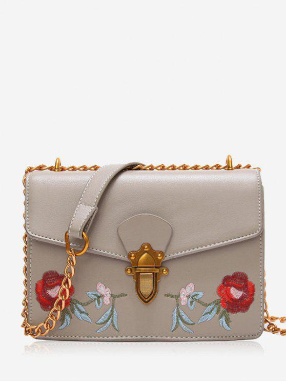 trendy Faux Leather Flower Embroidered Crossbody Bag - LIGHT GREY