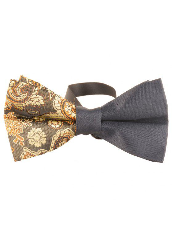 fashion Unique Asymmetric Cashew Pattern Embellished Bowtie - YELLOW