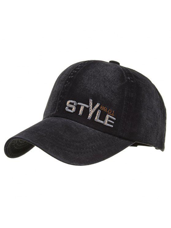 women's Unique STYLE Embroidery Adjustable Baseball Hat - BLACK