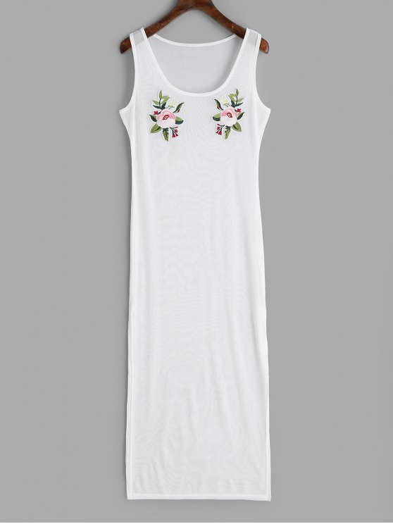 latest Applique Slit Sheer Cover-up Dress - WHITE M