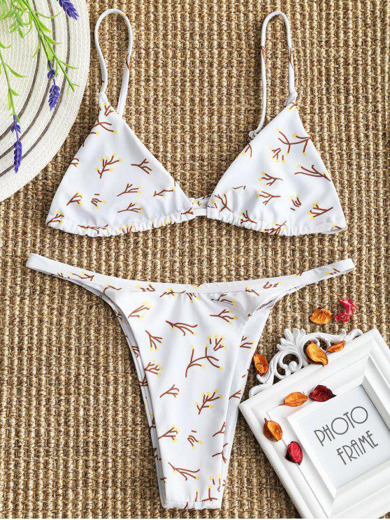 sale Tree Branch Print Bralette High Cut Bikini - WHITE L