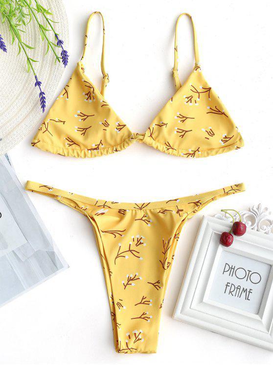 zweig Drucken Bralette hohe geschnitten Bikini - Gelb XL