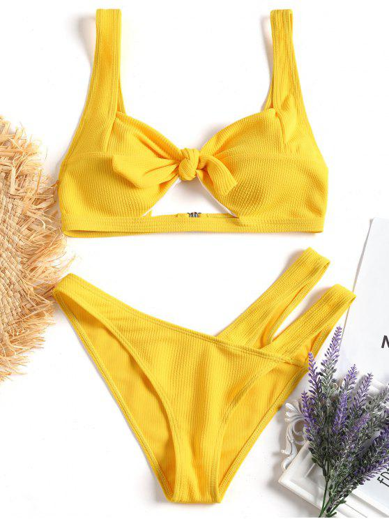 sale Knotted Cut Out Bikini Set - YELLOW L