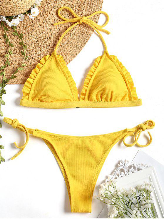 best Ribbed Frayed Hem String Bikini Set - YELLOW M