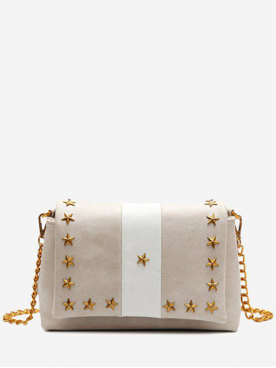 women's Flapped Pentagram Crossbody Bag - APRICOT