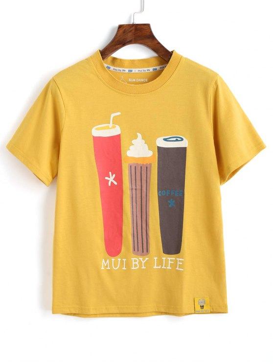 T-shirt bonito dos desenhos animados - Amarelo XL