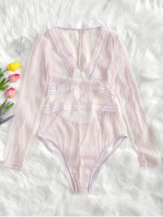 ladies Cut Out Plunge Sheer Lace Bodysuit - SHALLOW PINK XL