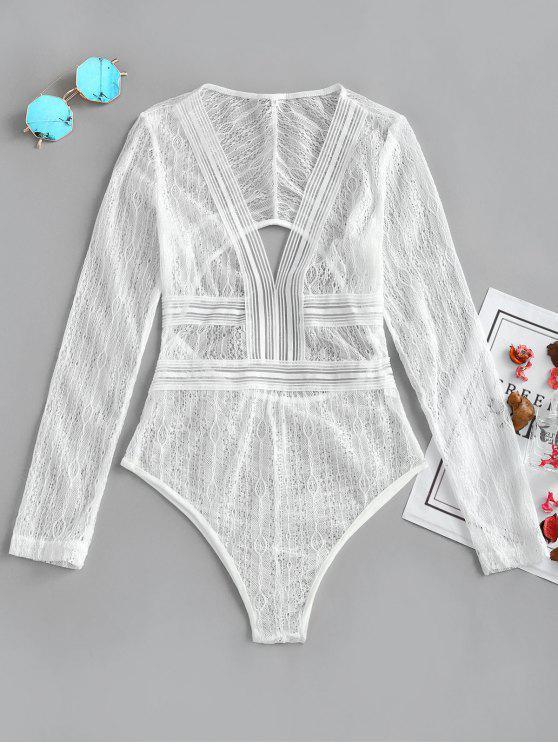 Tuta In Pizzo Trasparente Con Taglio Profondo - Bianco XL