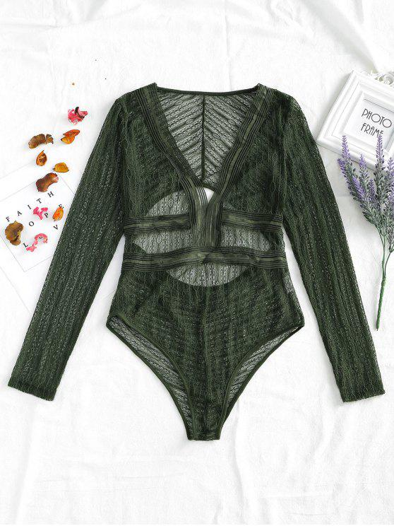 fancy Cut Out Plunge Sheer Lace Bodysuit - ARMY GREEN M