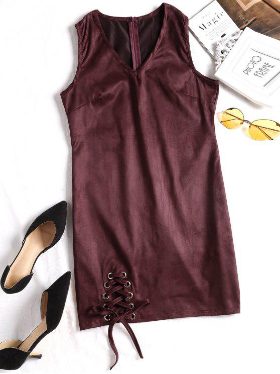 trendy Faux Suede Lace Up Mini Dress - WINE RED S