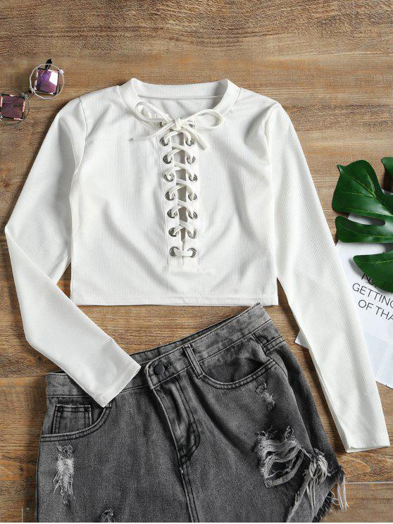 buy Cropped Ribbed Lace Up Top - WHITE S