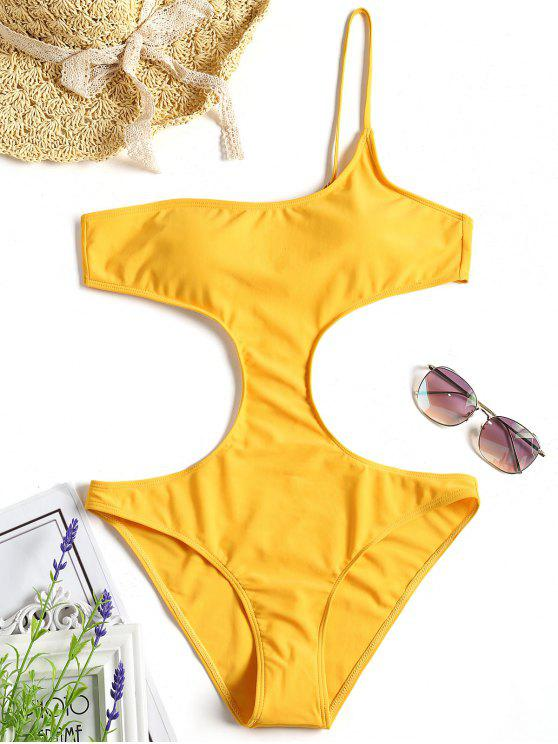 shop Cut Out One Shoulder Monokini - YELLOW S