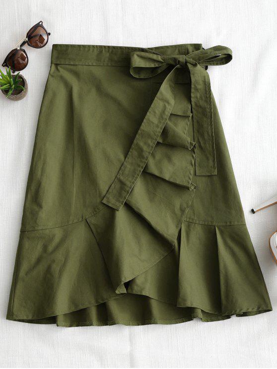 Hohe Taille Rüschen Saum Gürtel Rock - Armeegrün S