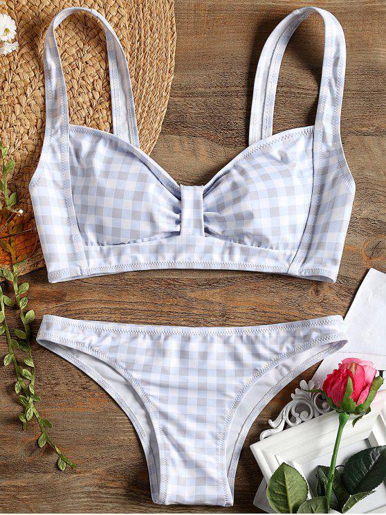 shop Checked Bow Bikini Swimsuit - CHECKED M