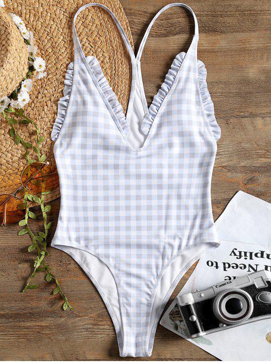 بدلة سباحة من قماش مربع النقش - التحقق S