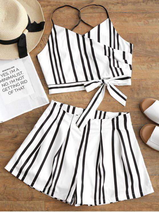 trendy Striped Bowknot Cami Top and Shorts Set - WHITE S