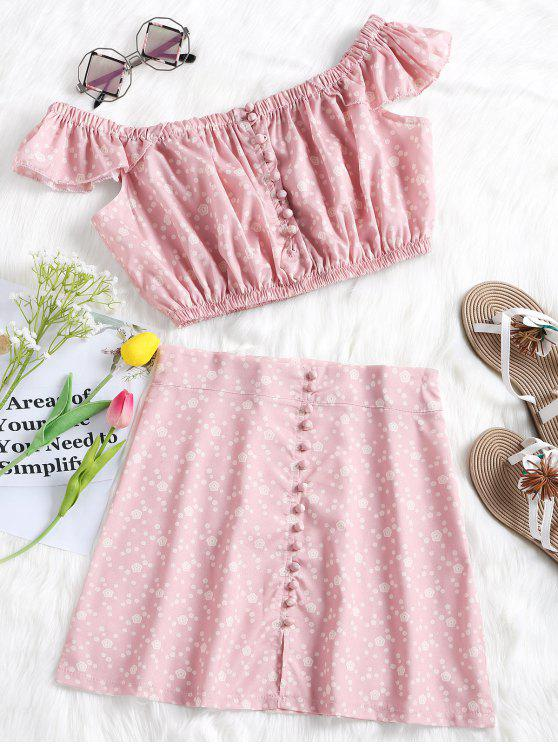 new Off Shoulder Floral Top and Button Up Skirt Set - PINK L
