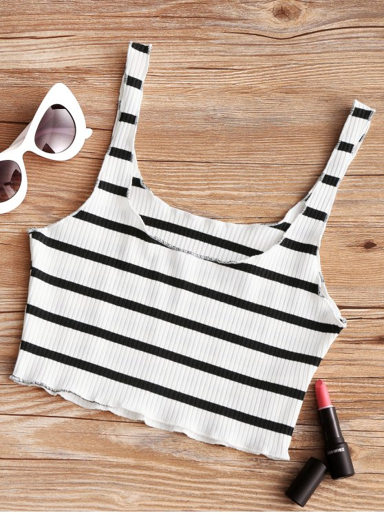 outfit Piped Ribbed Cropped Tank Top - WHITE AND BLACK ONE SIZE