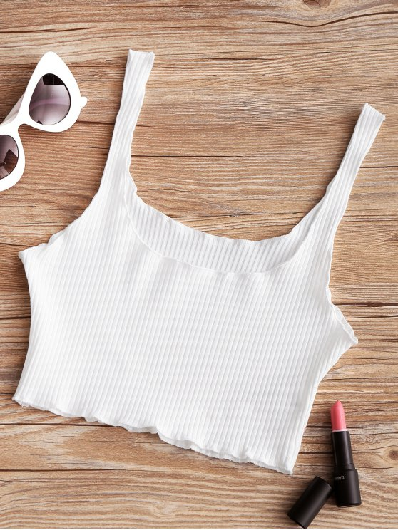 new Piped Ribbed Cropped Tank Top - WHITE ONE SIZE