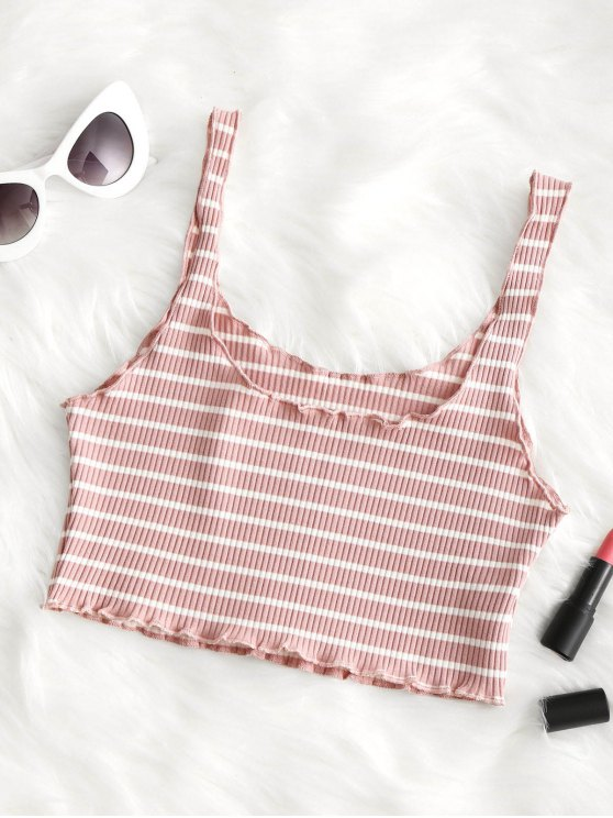 819a319c18c 43% OFF] 2019 Piped Ribbed Cropped Tank Top In PINK AND WHITE | ZAFUL