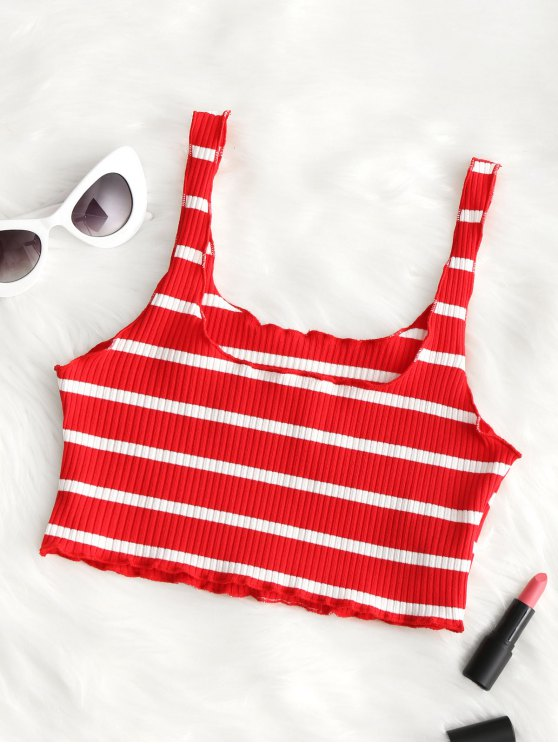 e8d42b330d5 43% OFF] 2019 Piped Ribbed Cropped Tank Top In RED AND WHITE | ZAFUL