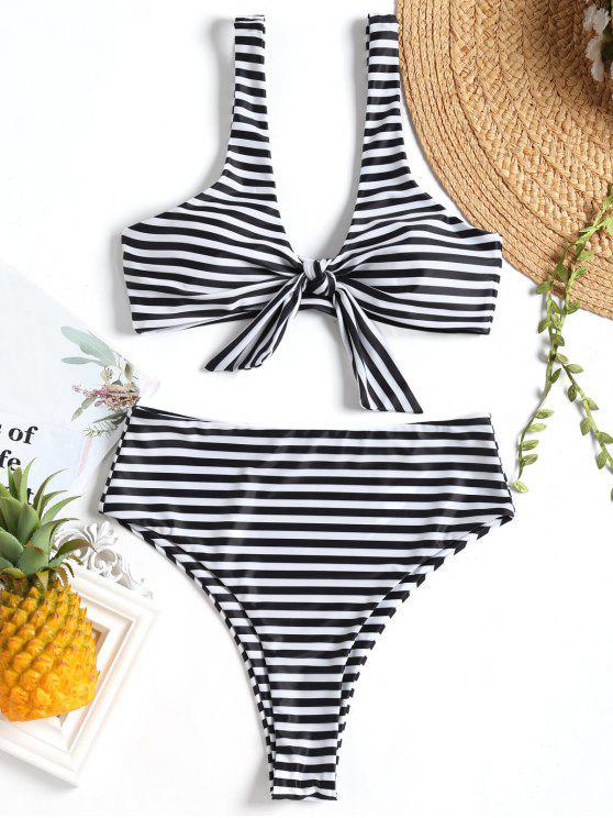 fashion Knotted Striped High Cut Bikini Set - WHITE AND BLACK M