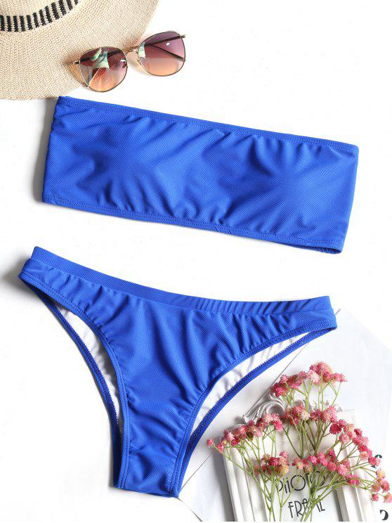 trendy Textured Bandeau Bikini Swimwear - BLUE S