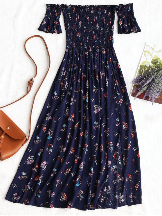 unique Floral Slit Smocked Off Shoulder Midi Dress - PURPLISH BLUE L