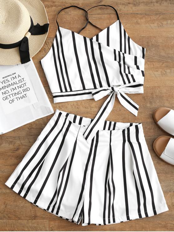 Gestreiftes Schleife Cami Top Und Shorts Set - Weiß L