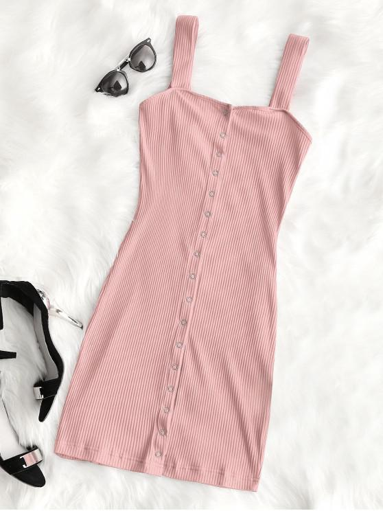 hot Snap Button Ribbed Mini Dress - PINK M