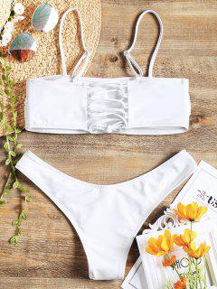 Cami Padded Back Lace Up Bikini - White L