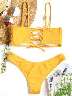 Cami Padded Back Lace Up Bikini - Mustard M