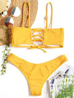 Cami Padded Back Lace Up Bikini - Mustard S