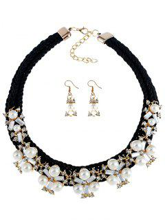 Knitted Diamante Necklace And Drop Earrings Set - Black