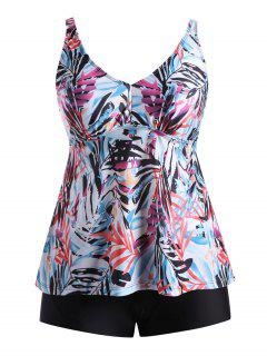 Plus Size Multi Color Printed Blouson Tankini Set - Floral Xl