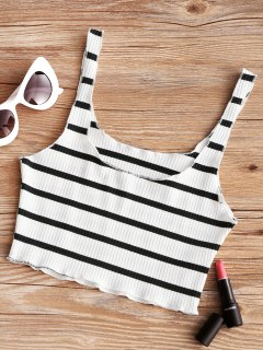 Piped Ribbed Cropped Tank Top - White And Black